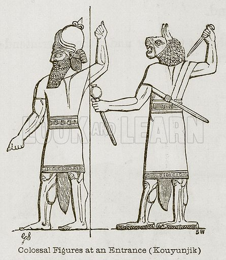 Colossal Figures at an Entrance (Kouyunjik). Illustration for Discoveries in the Ruins of Nineveh and Babylon by Austen Layard (John Murray, 1853).