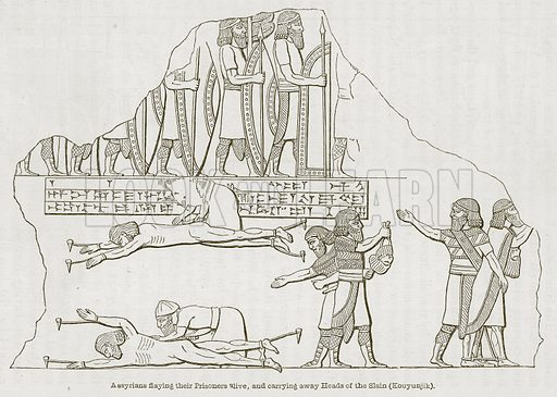 Assyrians Flaying their Prisoners Alive, and Carrying Away Heads of the Slain (Kouyunjik). Illustration for Discoveries in the Ruins of Nineveh and Babylon by Austen Layard (John Murray, 1853).
