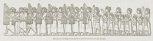 Musicians and Singers Coming Out to meet the Conquerors (Kouyunjik). Illustration for Discoveries in the Ruins of Nineveh and Babylon by Austen Layard (John Murray, 1853).