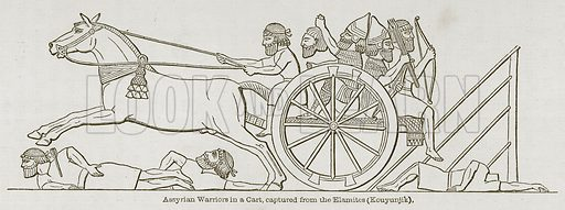 Assyrian Warriors in a Cart, captured from the Elamites (Kouyunjik). Illustration for Discoveries in the Ruins of Nineveh and Babylon by Austen Layard (John Murray, 1853).