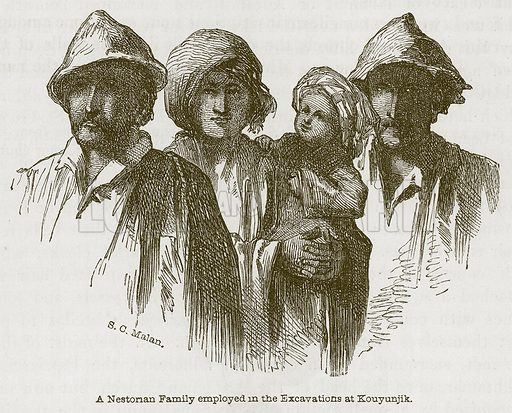 A Nestorian Family employed in the Excavations at Kouyunjik. Illustration for Discoveries in the Ruins of Nineveh and Babylon by Austen Layard (John Murray, 1853).