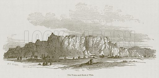 The Town and Rock of Wan. Illustration for Discoveries in the Ruins of Nineveh and Babylon by Austen Layard (John Murray, 1853).