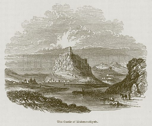 The Castle of Mahmoudiyah. Illustration for Discoveries in the Ruins of Nineveh and Babylon by Austen Layard (John Murray, 1853).