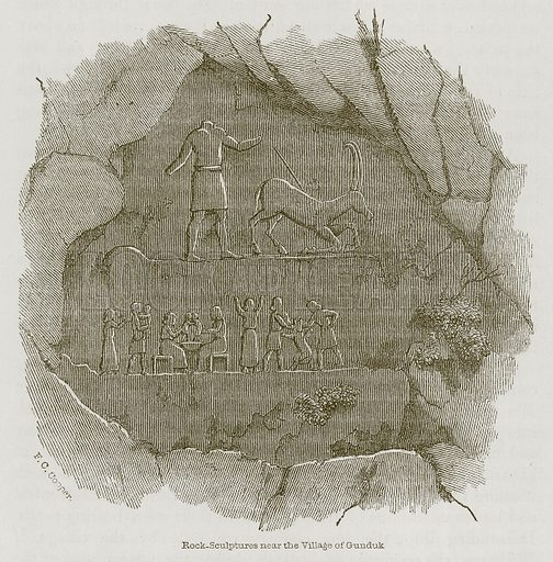 Rock-Sculptures near the Village of Gunduk. Illustration for Discoveries in the Ruins of Nineveh and Babylon by Austen Layard (John Murray, 1853).