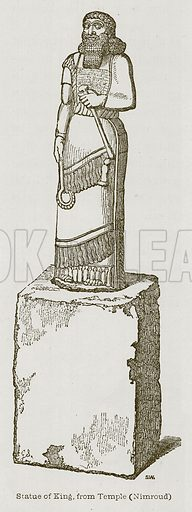 Statue of King, from Temple (Nimroud). Illustration for Discoveries in the Ruins of Nineveh and Babylon by Austen Layard (John Murray, 1853).