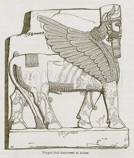 Winged Bull discovered at Arban. Illustration for Discoveries in the Ruins of Nineveh and Babylon by Austen Layard (John Murray, 1853).
