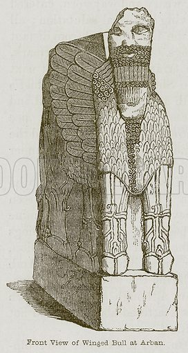 Front View of Winged Bull at Arban. Illustration for Discoveries in the Ruins of Nineveh and Babylon by Austen Layard (John Murray, 1853).