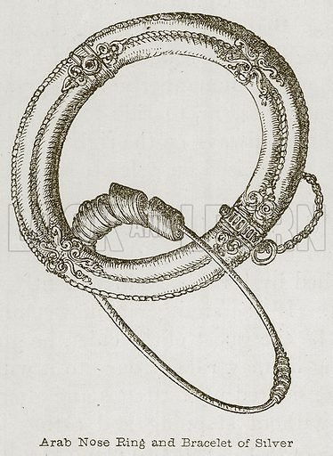 Arab Nose Ring and Bracelet of Silver. Illustration for Discoveries in the Ruins of Nineveh and Babylon by Austen Layard (John Murray, 1853).