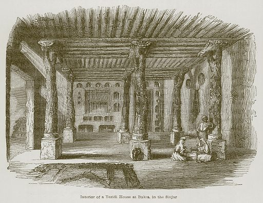 Interior of a Yezidi House at Bukra, in the Sinjar. Illustration for Discoveries in the Ruins of Nineveh and Babylon by Austen Layard (John Murray, 1853).