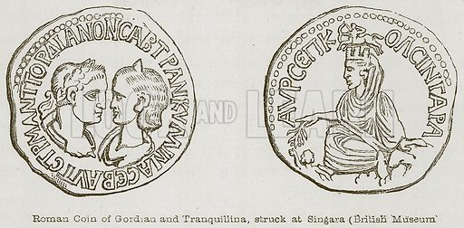 Roman Coin of Gordian and Tranquillina, Struck at Singara (British Museum). Illustration for Discoveries in the Ruins of Nineveh and Babylon by Austen Layard (John Murray, 1853).