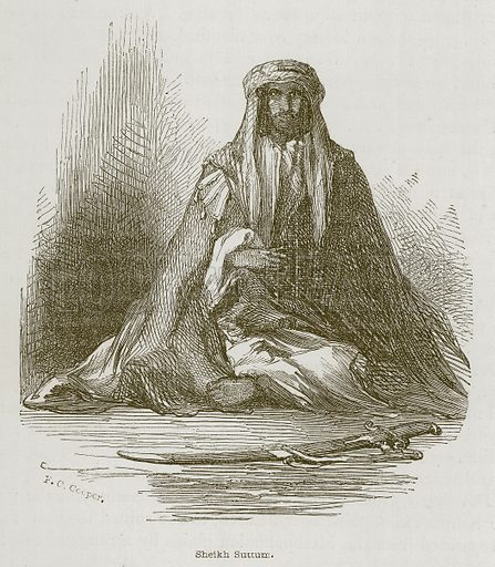 Sheikh Suttum. Illustration for Discoveries in the Ruins of Nineveh and Babylon by Austen Layard (John Murray, 1853).