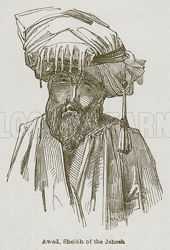 Awad, Sheikh of the Jehesh. Illustration for Discoveries in the Ruins of Nineveh and Babylon by Austen Layard (John Murray, 1853).