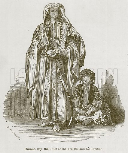 Hussein Bey the Chief of the Yezidis, and his Brother. Illustration for Discoveries in the Ruins of Nineveh and Babylon by Austen Layard (John Murray, 1853).