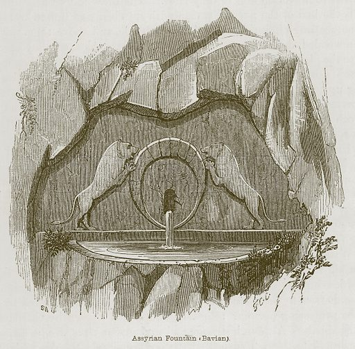 Assyrian Fountain (Bavian). Illustration for Discoveries in the Ruins of Nineveh and Babylon by Austen Layard (John Murray, 1853).