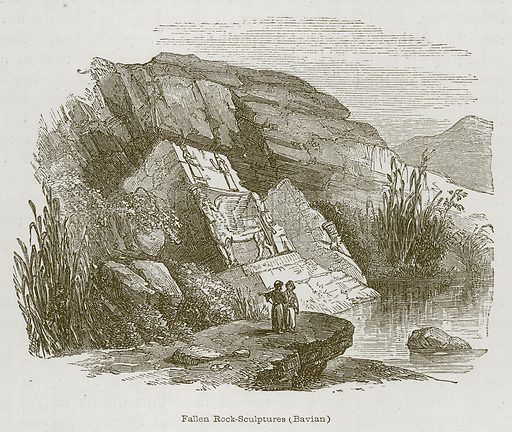 Fallen Rock-Sculptures (Bavian). Illustration for Discoveries in the Ruins of Nineveh and Babylon by Austen Layard (John Murray, 1853).