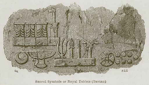 Sacred Symbols or Royal Tablets (Bavian). Illustration for Discoveries in the Ruins of Nineveh and Babylon by Austen Layard (John Murray, 1853).