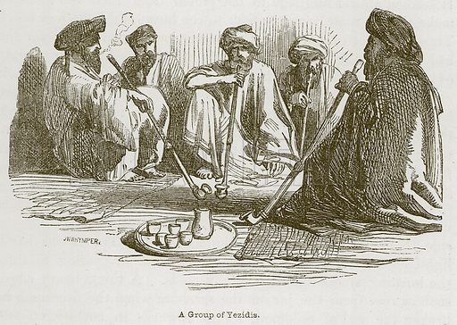 A Group of Yezidis. Illustration for Discoveries in the Ruins of Nineveh and Babylon by Austen Layard (John Murray, 1853).
