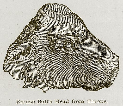 Bronze Bull's Head from Throne. Illustration for Discoveries in the Ruins of Nineveh and Babylon by Austen Layard (John Murray, 1853).