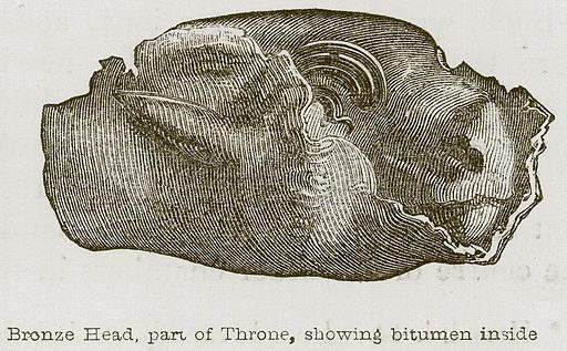 Bronze Head, Part of Throne, Showing Bitumen Inside. Illustration for Discoveries in the Ruins of Nineveh and Babylon by Austen Layard (John Murray, 1853).