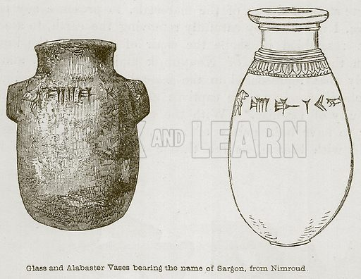 Glass and Alabaster Vases Bearing the Name of Sargon, from Nimroud. Illustration for Discoveries in the Ruins of Nineveh and Babylon by Austen Layard (John Murray, 1853).
