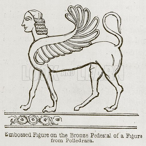 Embossed Figure on the Bronze Pedestal of a Figure from Polledrara. Illustration for Discoveries in the Ruins of Nineveh and Babylon by Austen Layard (John Murray, 1853).