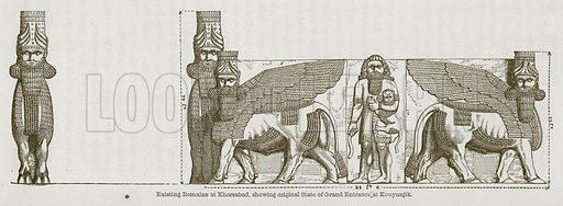 Existing Remains at Khorsabad, Showing Original State of Grand Entrance at Kouyunjik. Illustration for Discoveries in the Ruins of Nineveh and Babylon by Austen Layard (John Murray, 1853).