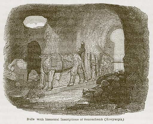 Bulls with Historical Inscriptions of Sennacherib (Kouyunjik). Illustration for Discoveries in the Ruins of Nineveh and Babylon by Austen Layard (John Murray, 1853).