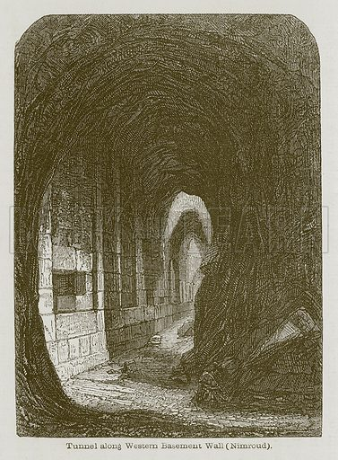Tunnel along Western Basement Wall (Nimroud). Illustration for Discoveries in the Ruins of Nineveh and Babylon by Austen Layard (John Murray, 1853).