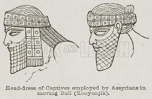 Head-Dress of Captives Employed by Assyrians in Moving Bull (Kouyunjik). Illustration for Discoveries in the Ruins of Nineveh and Babylon by Austen Layard (John Murray, 1853).