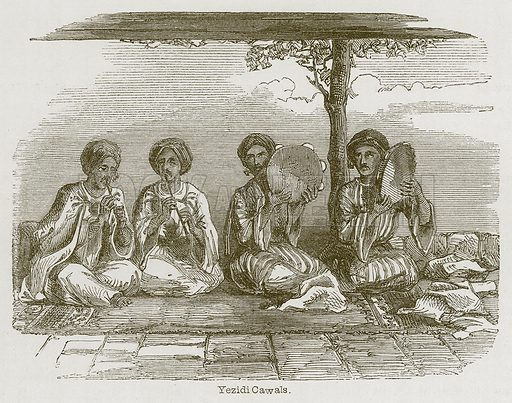 Yezidi Cawals. Illustration for Discoveries in the Ruins of Nineveh and Babylon by Austen Layard (John Murray, 1853).