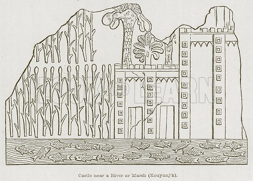 Castle near a River or Marsh (Kouyunjik). Illustration for Discoveries in the Ruins of Nineveh and Babylon by Austen Layard (John Murray, 1853).