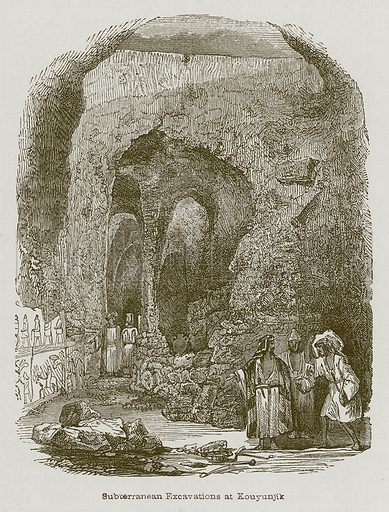 Subcerranean Excavations at Kouyunjik. Illustration for Discoveries in the Ruins of Nineveh and Babylon by Austen Layard (John Murray, 1853).