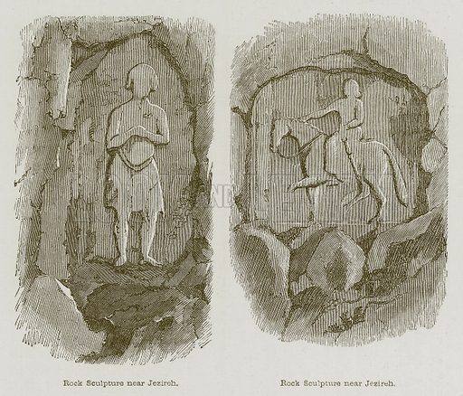 Rock Sculpture near Jezireh. Illustration for Discoveries in the Ruins of Nineveh and Babylon by Austen Layard (John Murray, 1853).