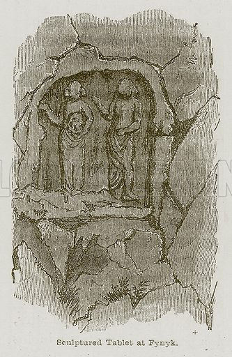 Sculptured Tablet at Fynyk. Illustration for Discoveries in the Ruins of Nineveh and Babylon by Austen Layard (John Murray, 1853).