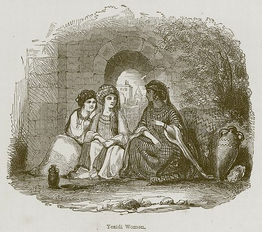 Yezidi Women. Illustration for Discoveries in the Ruins of Nineveh and Babylon by Austen Layard (John Murray, 1853).