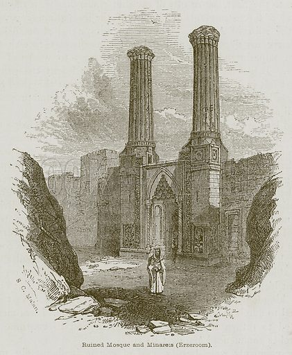 Ruined Mosque and Minarets (Erzeroom). Illustration for Discoveries in the Ruins of Nineveh and Babylon by Austen Layard (John Murray, 1853).