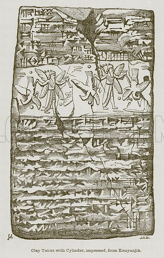 Clay Tablet with Cylinder, impressed, from Kouyunjik. Illustration for Discoveries in the Ruins of Nineveh and Babylon by Austen Layard (John Murray, 1853).