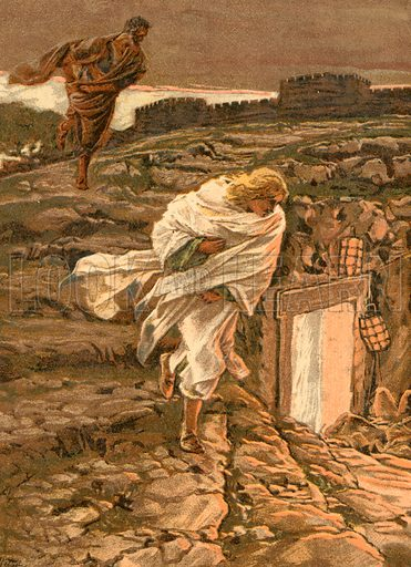 Saint Peter and Saint John run to the Sepulchre. Illustration for The Life of Our Saviour Jesus Christ (Sampson Low, c 1897).