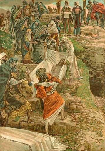 The Body of Jesus carried to the Stone of Anointing. Illustration for The Life of Our Saviour Jesus Christ (Sampson Low, c 1897).