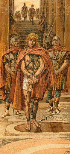 Jesus leaves the Praetorium. Illustration for The Life of Our Saviour Jesus Christ (Sampson Low, c 1897).