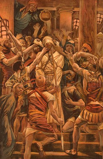 Christ Mocked in the House of Caiaphas. Illustration for The Life of Our Saviour Jesus Christ (Sampson Low, c 1897).