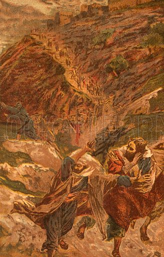 """""""And they all forsook him and fled."""" Illustration for The Life of Our Saviour Jesus Christ (Sampson Low, c 1897)."""