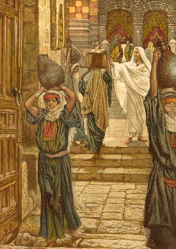 Jesus forbids the Carrying of Vessels through the Temple. Illustration for The Life of Our Saviour Jesus Christ (Sampson Low, c 1897).