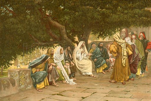 The Pharisees and Sadducees come to tempt Jesus. Illustration for The Life of Our Saviour Jesus Christ (Sampson Low, c 1897).