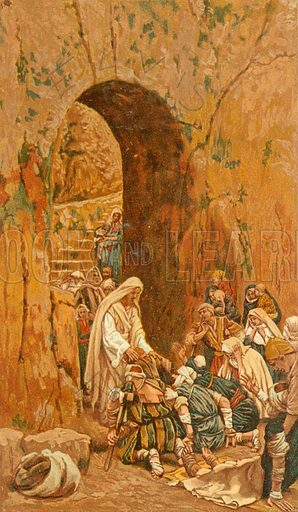 He laid his hands upon a few sick folk. Illustration for The Life of Our Saviour Jesus Christ (Sampson Low, c 1897).