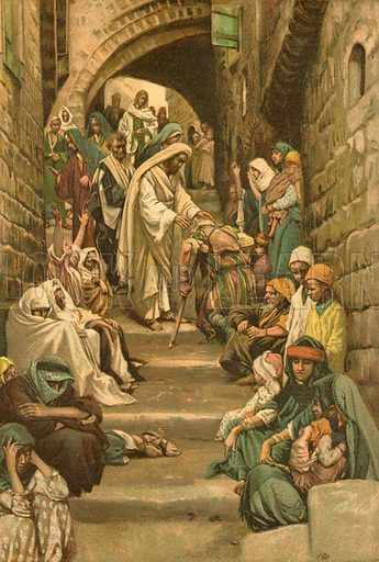 In the Villages the Sick were brought unto him. Illustration for The Life of Our Saviour Jesus Christ (Sampson Low, c 1897).