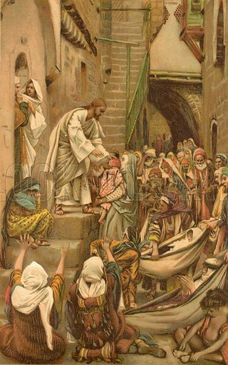 All the City was Gathered together at the Door. Illustration for The Life of Our Saviour Jesus Christ (Sampson Low, c 1897).