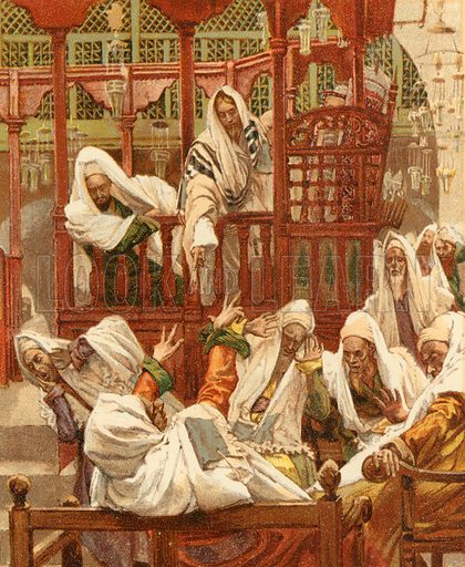 The Man with an Unclean Spirit in the Synagogue. Illustration for The Life of Our Saviour Jesus Christ (Sampson Low, c 1897).