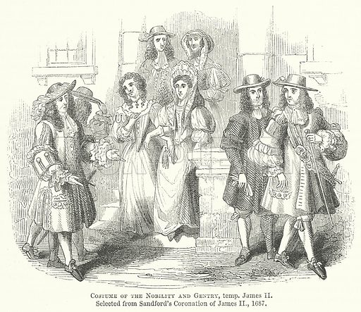 Costume of the Nobility and Gentry, Temp. James II. Illustration for The Pictorial History of England (W & R Chambers, 1858).