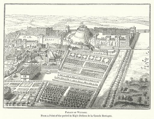 Palace of Windsor. Illustration for The Pictorial History of England (W & R Chambers, 1858).